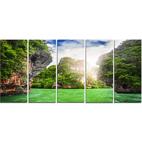 Cave Rocks On Railay Beach Landscape Art Print Canvas - 5 Panels