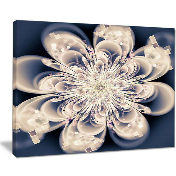 Designart White Fractal Flower Modern Floral Canvas Art Print - 4 Panels