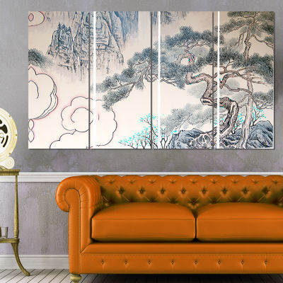 Chinese Blue Tree Art Floral Painting Canvas - 4 Panels