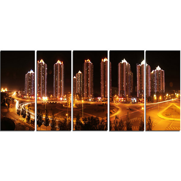 Chinese Cities Cityscape Photography Canvas Art Print - 5 Panels