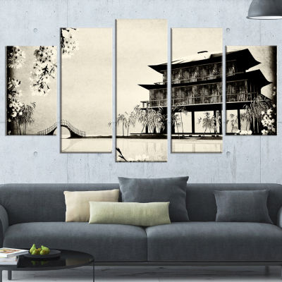 Designart Chinese ink Painting Chinese Landscape Canvas Print - 5 Panels