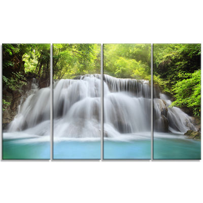Designart White Huai Mae Kamin Waterfall AbstractCanvas Artwork - 4 Panels