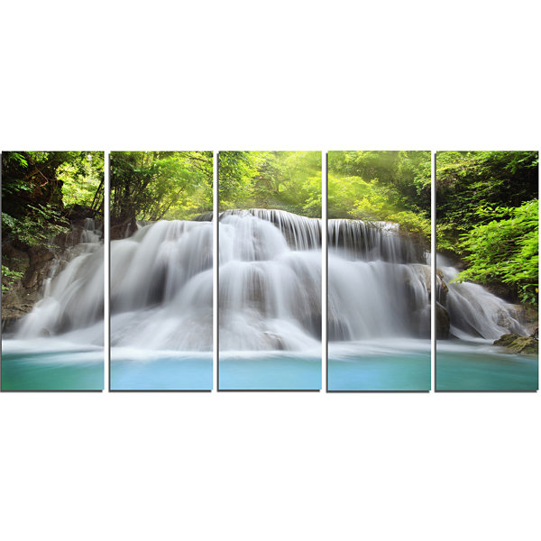 Designart White Huai Mae Kamin Waterfall AbstractCanvas Artwork - 5 Panels