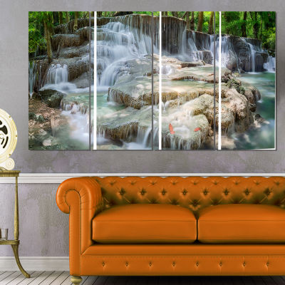 Designart White Huay Mae Kamin Waterfall LandscapePhotography Canvas Print - 4 Panels