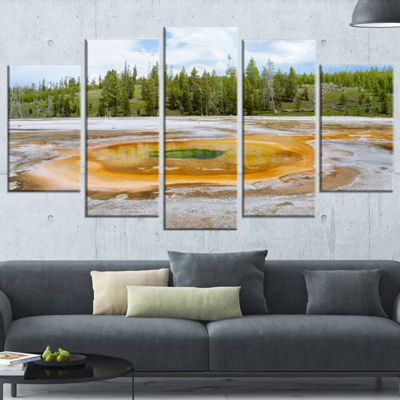 Designart Chromatic Morning Glory Pool Landscape PhotographyWrapped Canvas Print - 5 Panels