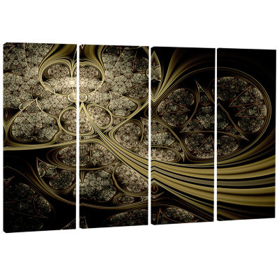White Metallic Fabric Pattern Abstract Print on Canvas - 4 Panels