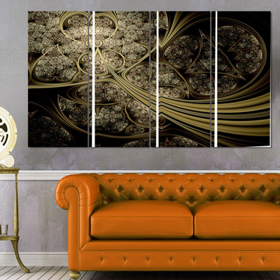 Designart White Metallic Fabric Pattern Abstract Print on Canvas - 4 Panels