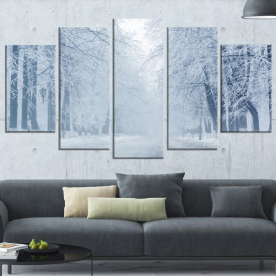 Designart White Road and Winter Trees Landscape PhotographyWrapped Print - 5 Panels