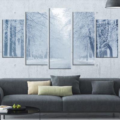 Designart White Road and Winter Trees Landscape PhotographyCanvas Print - 5 Panels