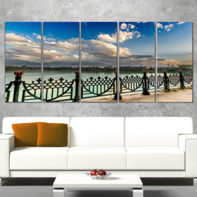City Lake Under Clouds Cityscape Photography Canvas Print - 5 Panels