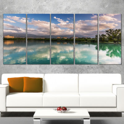 City Lake with Cloud Reflection Cityscape Photo Canvas Print - 4 Panels