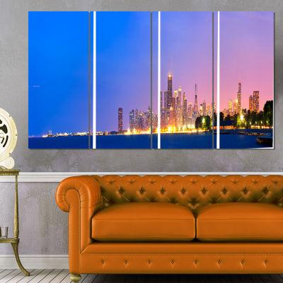 Designart City of Chicago Skyline Cityscape PhotoCanvas Print - 4 Panels