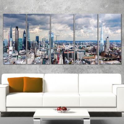 Designart City of London Cityscape Photography Canvas Art Print - 5 Panels
