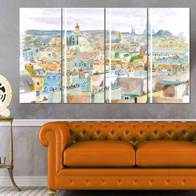 Designart City of Paris Watercolor Cityscape Canvas Art Print - 4 Panels