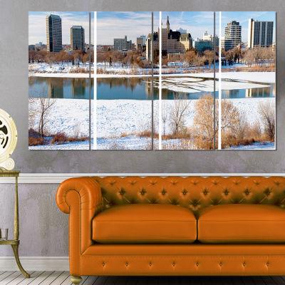 Designart City of Saskatoon Winter Panoramic Landscape Art Print Canvas - 4 Panels