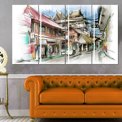 Designart City Street Illustration Art Cityscape Street ArtCanvas Print - 4 Panels