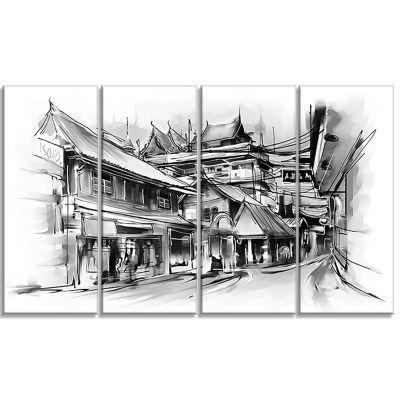 Designart City Street Illustration Cityscape Canvas Art Print - 4 Panels