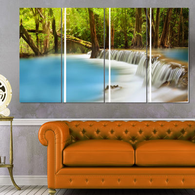 Designart Clam Huai Mae Kamin Waterfall LandscapeArt PrintCanvas - 4 Panels