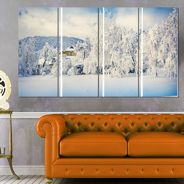 Designart White Winter Mountain Landscape Photography CanvasArt Print - 4 Panels