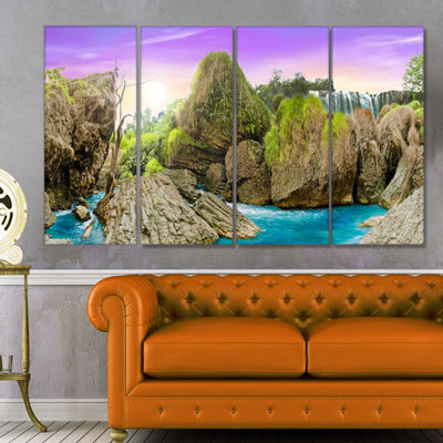 Designart Wild Forest and Waterfall Vietnam Landscape Art Print Canvas - 4 Panels