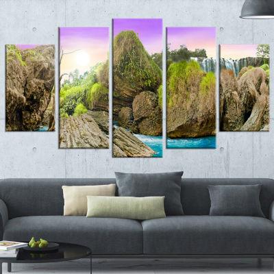 Designart Wild Forest and Waterfall Vietnam Landscape Art Print Canvas - 5 Panels