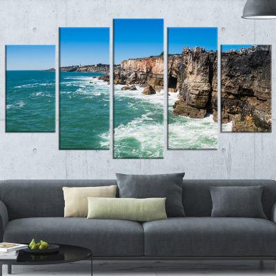 Designart Coastline of Cascais Seascape Photography WrappedCanvas Art Print - 5 Panels