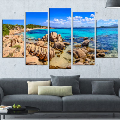 Designart Coastline Panorama Beach Photography Wrapped Canvas Art Print - 5 Panels