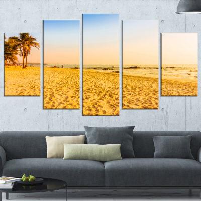 Designart Coconut Palm Trees On Beach Landscape PhotographyWrapped Canvas Print - 5 Panels