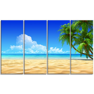 Coconut Palms Bent into Beach Seashore Canvas ArtPrint - 4 Panels