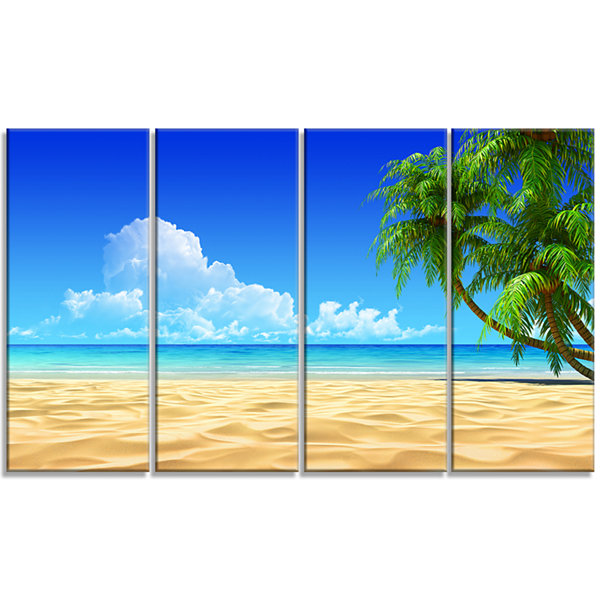 Designart Coconut Palms Bent into Beach Seashore Canvas ArtPrint - 4 Panels