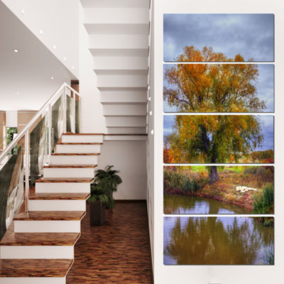 Designart Willow Near Pond Landscape Photography Canvas ArtPrint - 4 Panels