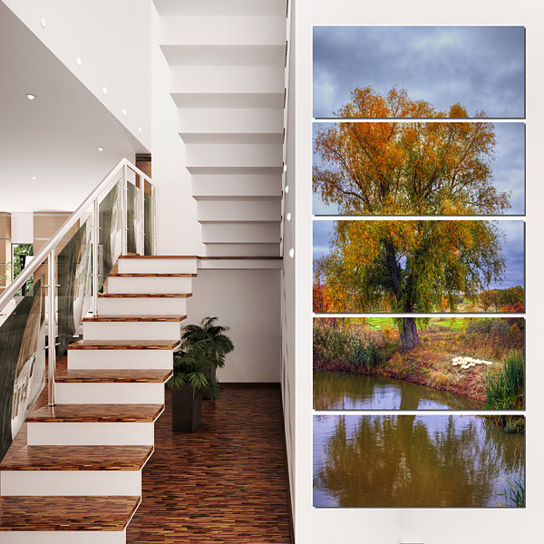 Willow Near Pond Landscape Photography Canvas ArtPrint - 4 Panels