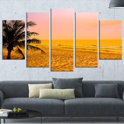 Coconut Tree Silhouette Landscape Photography Wrapped Canvas Art Print - 5 Panels