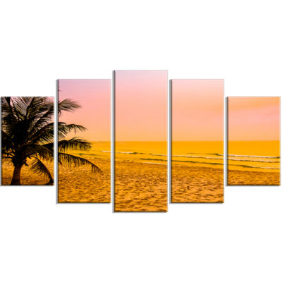 Designart Coconut Tree Silhouette Landscape Photography Canvas Art Print - 5 Panels