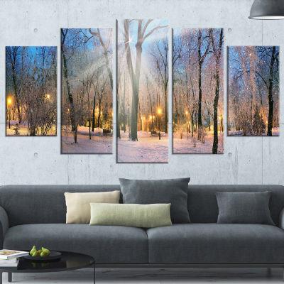 Designart Winter at Mariinsky Gardens Landscape PhotographyCanvas Print - 4 Panels