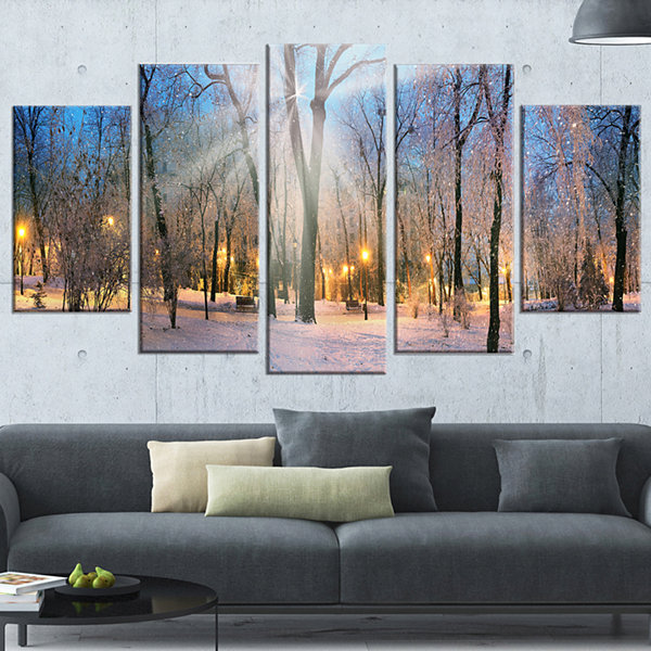 Winter at Mariinsky Gardens Landscape PhotographyCanvas Print - 5 Panels