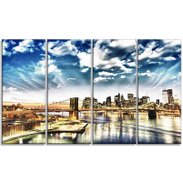 Winter Clouds Over Manhattan Cityscape Photo Canvas Print - 4 Panels
