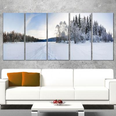 Designart Winter Field Landscape Photography Canvas Art Print - 5 Panels