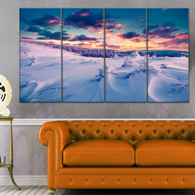 Designart Winter in Carpathian Mountains LandscapePhotography Canvas Print - 4 Panels