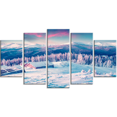 Designart Winter Morning in Carpathian Landscape PhotographyWrapped Print - 5 Panels