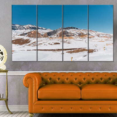 Designart Winter Mountains in Azerbaijan LandscapePhotography Canvas Print - 4 Panels