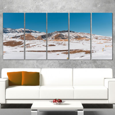Designart Winter Mountains in Azerbaijan LandscapePhotography Canvas Print - 5 Panels