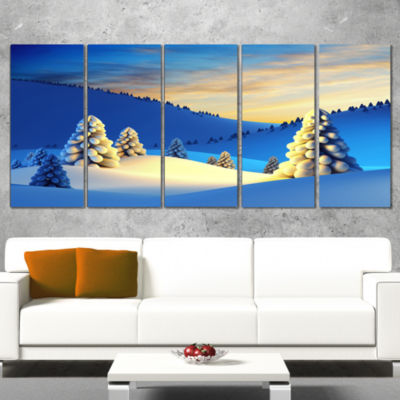 Designart Winter Mountains with Fir Trees Landscape Photography Canvas Print - 5 Panels