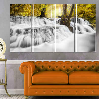 Designart Colorful Erawan Waterfall Landscape Photography Canvas Print - 4 Panels