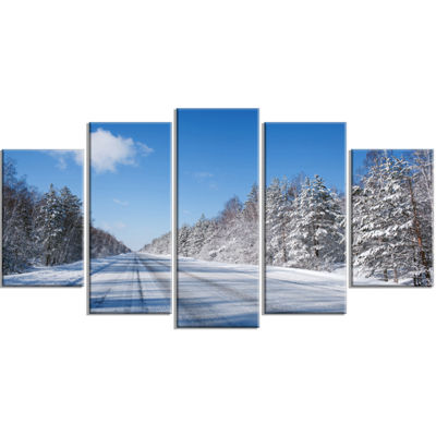 Designart Winter Road Landscape Photography CanvasArt Print- 4 Panels