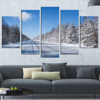 Designart Winter Road Landscape Photography Wrapped Art Print - 5 Panels
