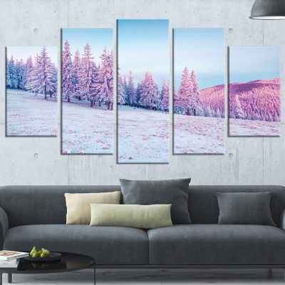 Designart Winter Sunrise in Mountains Landscape PhotographyCanvas Print - 4 Panels