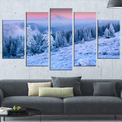Winter Sunrise Over Mountain Landscape PhotographyWrapped Print - 5 Panels