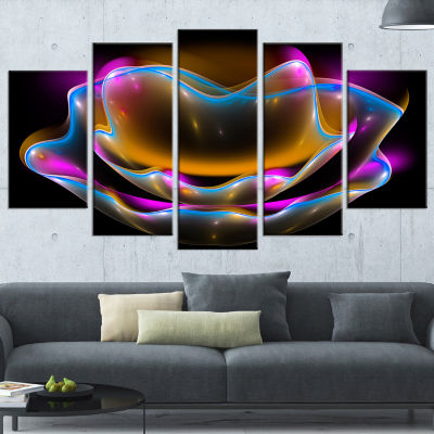 Designart Colorful Fractal Flower in Dark Large Floral Canvas Art Print - 5 Panels