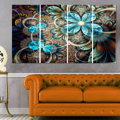 Designart Colorful Fractal Flowers with Blue ShadeAbstractPrint On Canvas - 4 Panels